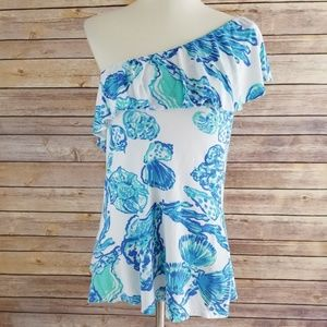 Lilly Pulitzer Matteo One Shoulder Ruffle Blouse